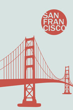 San Francisco City Poster Artwork. My Own Graphic Design Vector Drawing.