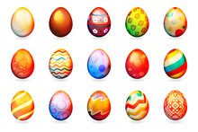 Painted Easter Eggs Decorative Isolated Set Icons Vector Illustration