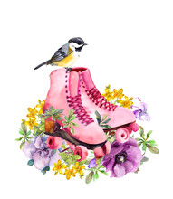 Pair Of Vintage Pink Roller Skates With Beautiful Flowers, Small Birds. Watercolor Retro Image In Female, Girly Style
