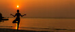 Silhouette lifestyle woman yoga exercise for healthy life. Young girl or people pose balance body vital zen and meditation workout and fitness sport outdoor sunset. copy space for banner