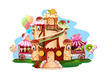 Sweet Castle In The Candy Land. Sweet Fairy Tale Vector Illustration On White Background For Creating A Poster, Flyer Or Card