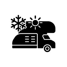 RV Air Conditioning And Heating Black Glyph Icon. Climate Control For Trailer. Van Technology. Roadtrip Gear. Nomadic Lifestyle. Silhouette Symbol On White Space. Vector Isolated Illustration