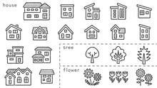家と木と花のアイコンセット(手書き風線画)分類バージョン