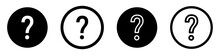 Set Of Question Mark Icons. Buttons. Vector Illustration.