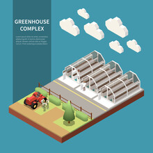 Modern Greenhouse Complex Isometric Concept With New Technology Symbols Isolated
