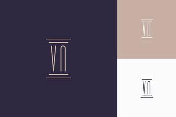 VN monogram initials design for law firm logo