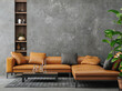 canvas print picture Living room interior in loft, industrial style, 3d render