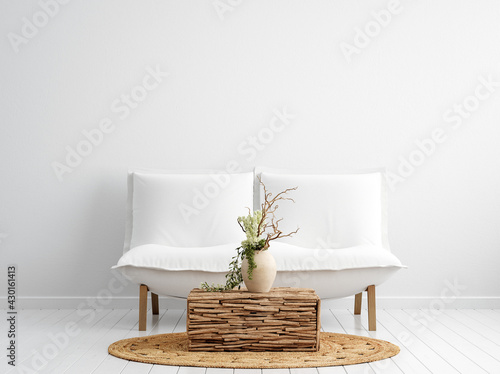 Fototapeta Scandi-boho style interior background, wall mock up, 3d render obraz