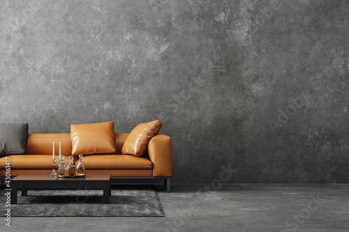 Living room interior in loft, industrial style, 3d render - fototapety na wymiar