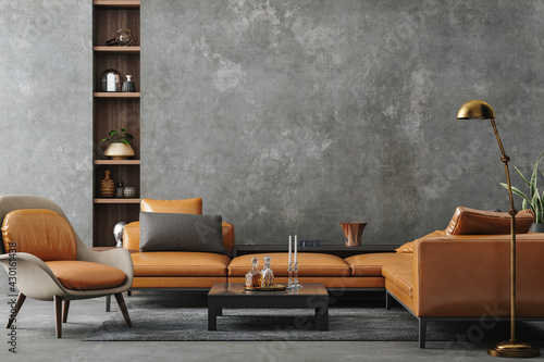 Living room interior in loft, industrial style, 3d render - fototapety na wymiar