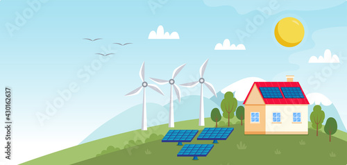 Concept illustration for ecology, green power, wind energy Wallpaper Mural