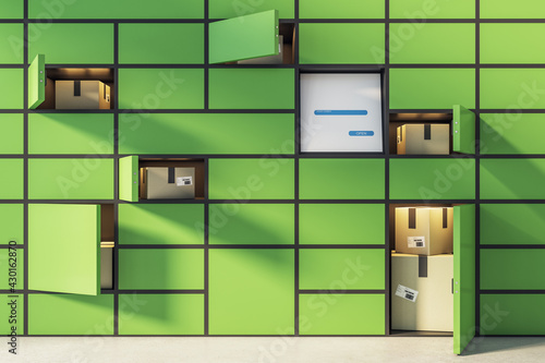 Pick point service concept with green terminal for goods storage ordered from online stores and card boxes in cells