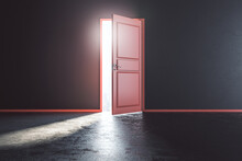 There Is Always A Way Out Concept With Sunlight Coming Through Red Open Door Into Dark Room