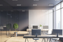 Monochrome Style Office Hall With White Wooden Slatted Partition Between Workspaces, Dark Ceiling And Wall And Big Window With City View