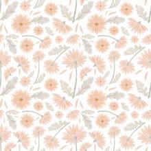 Delicat Floral Seamless Pattern. Gerbera Blossom, Hand Drawn Illustration. Rastr Background