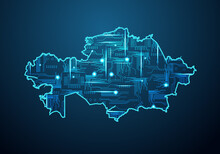 Abstract Futuristic Map Of Kazakhstan. Circuit Board Design Electric Of The Region. Technology Background. Mash Line And Point Scales On Dark With Map.