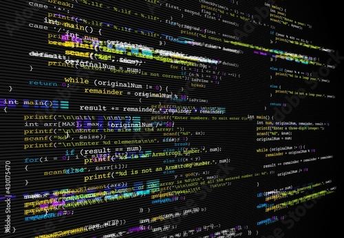 Foto Program code glitch background, computer bug or software development problem