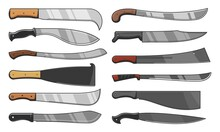 Knife Blades And Cleavers, Combat And Agriculture Cutters, Vector Icons. Blade Knives Tribal And Traditional Chef Butcher Cutting Tools And Hunt Weapon, Machete, Dagger Or Saber Sword And Ax Hatchet