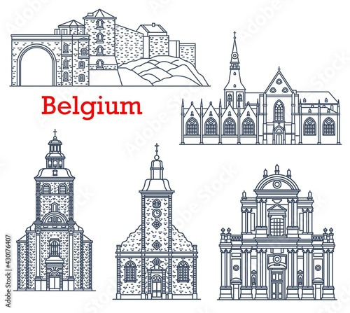 Tableau sur Toile Belgium travel landmarks of Namur and Stavelot, vector cathedrals and churches architecture line icons