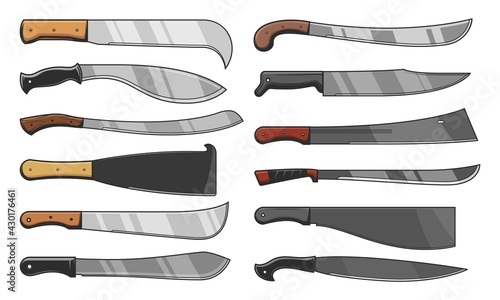 Foto Knife blades and cleavers, combat and agriculture cutters, vector icons