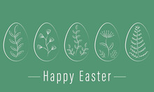 Set Of Five Eggs With Floral Decor On A Green Background. Minimal Style. Vector