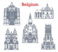 Belgium Landmarks, Cathedrals In Tongeren, Dinant And Diest City Architecture. Belgium Travel Landmarks, Saint-Hubert Church, Basilica Of Our Lady, Collegiate Church And Herkenrode Abbey