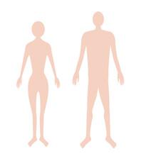 男女の人体シルエットのイラスト素材