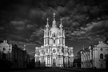Smolny Cathedral , St.-Petersburg, Russia. Monochrome