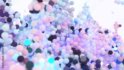 Fotografie, Obraz Lightweight shiny background with large massive of glowing balls