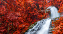 Banner Colourful Of Huay Sai Leung Waterfall Is A Beautiful Waterfalls In The Rain Forest Jungle Thailand