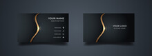 Luxury Business Card Design Template. Elegant Dark Back Background With Abstract Golden Wavy Lines Shiny. Vector Illustration Ready To Print.