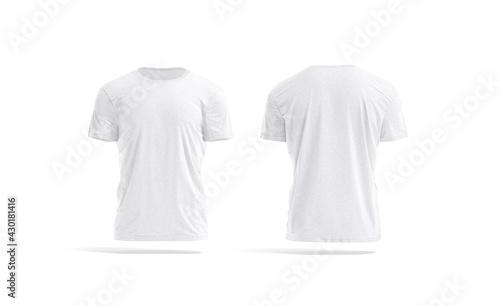 Blank white wrinkled t-shirt mockup, front and back view - fototapety na wymiar