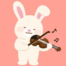 Adorable White Bunny Playing The Violin Flat Colored