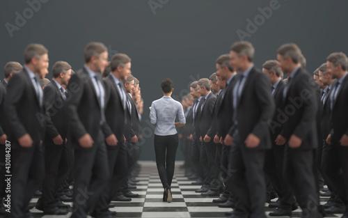Obraz businesswoman walks along a line of businessmen - fototapety do salonu