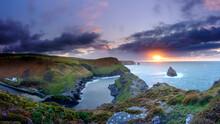 Sunset On Boscastle Harbour, Cornwall, UK