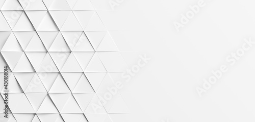 Obraz Random rotated white triangles background wallpaper banner with copy space - fototapety do salonu