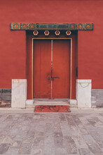 The Ancient Buildings With Red Wall, Yellow Or Gray Tile Roof, Door Gate In The Forbidden City, Beijing, China