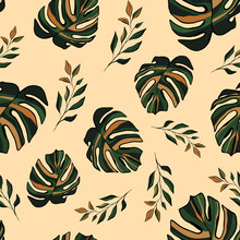 Contemporary Tropical Seamless Pattern. Abstract Terracotta Pastel Hand Drawn Palm, Monstera Leaves On Beige Background. Exotic Plant Prints. Creative Collage Multicolored Floral Texture