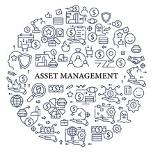 Asset Management Circle Poster. Financial Resources. Monitoring Accounts. Identification, Evaluation.Control.Business Concept.Isolated Vector Template
