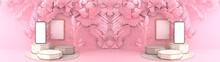3D Rendering Of Smartphone White Screen Resting On A Octagonal Marble Podium. The Pink Leaves And Pink Palm Overlap To Form Art Dimensions. Pedestal Can Be Used For Advertising, On Pink Background.