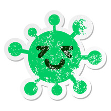 Tired But Happy Virus Distressed Sticker