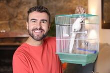 Man With His Bird Pet