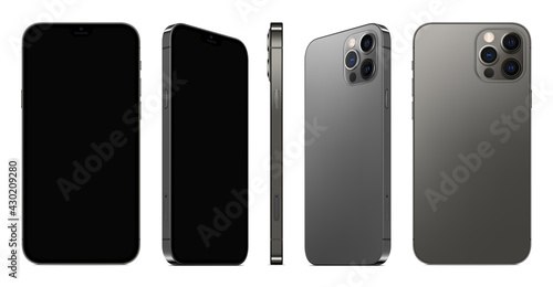 Fotografía smartphone frameless grey color with black screen saver front and backside view isolated on white background