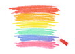 Symbol rainbow hand drawn with chalk isolated on white background, clipping path