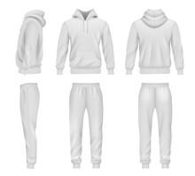 Sportswear. Hoodie Mockup Tracksuit Sweatpants For Men Decent Vector Templates
