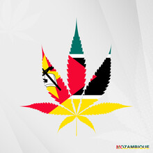 Flag Of Mozambique In Marijuana Leaf Shape. The Concept Of Legalization Cannabis In Mozambique.