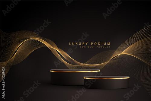 Billede på lærred Minimal black scene with golden lines