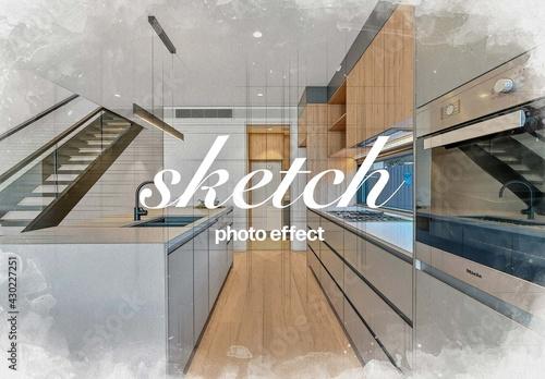 Fototapeta Architecture Watercolor Photo Effect Mockup obraz