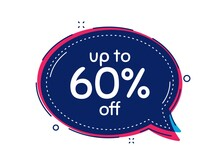 Up To 60 Percent Off Sale. Thought Bubble Vector Banner. Discount Offer Price Sign. Special Offer Symbol. Save 60 Percentages. Dialogue Or Thought Speech Balloon Shape. Vector