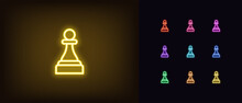 Neon Chessmen Pawn Icon. Glowing Neon Pawn Sign, Outline Chess Piece